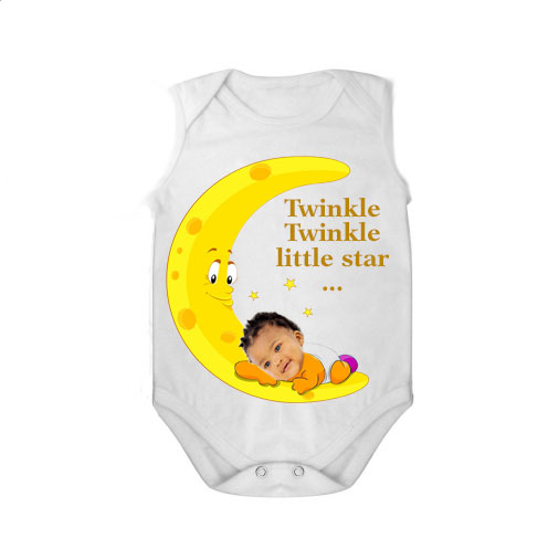 Sleeveless baby bodysuit white tar twinkle twinkle girl