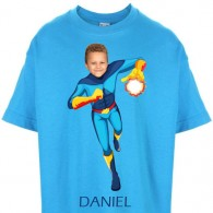 kids tshirt personalised photo gift superheroes fireboy