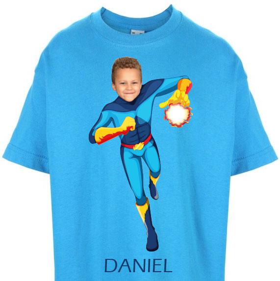 kids tshirt personalised photo gift superheroes fireboy