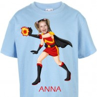 kids tshirt personalised photo gift superheroes firegirl