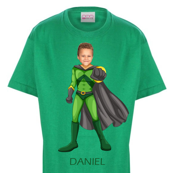 kids tshirt personalised photo gift superheroes flyboy