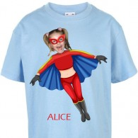 kids tshirt personalised photo gift superheroes flygirl