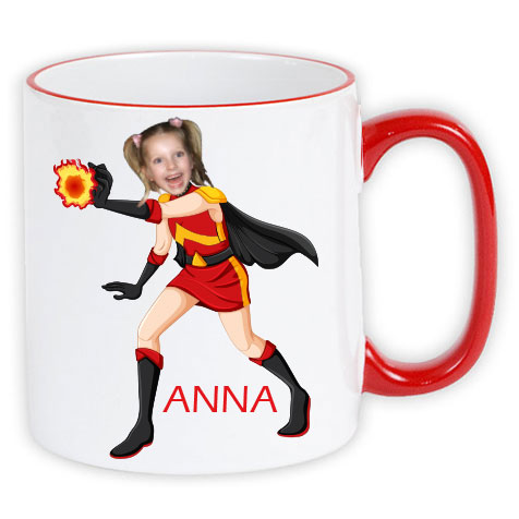 personalised mug superheroes firegirl- photo gift