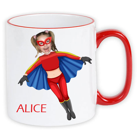 personalised mug superheroes flygirl photo gift