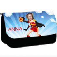 personalised pencil case superheroes firegirl
