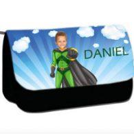 personalised pencil case superheroes flyboy
