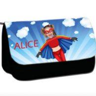 personalised pencil case superheroes flygirl