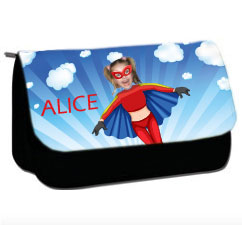 personalised pencil case superheroes flygirl