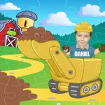 personalised wooden jigsaw digger