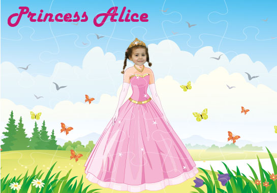 personalised wooden jigsaw princess