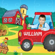 personalised wooden jigsaw tractor