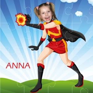 personalised jigsaw superheroes firegirl