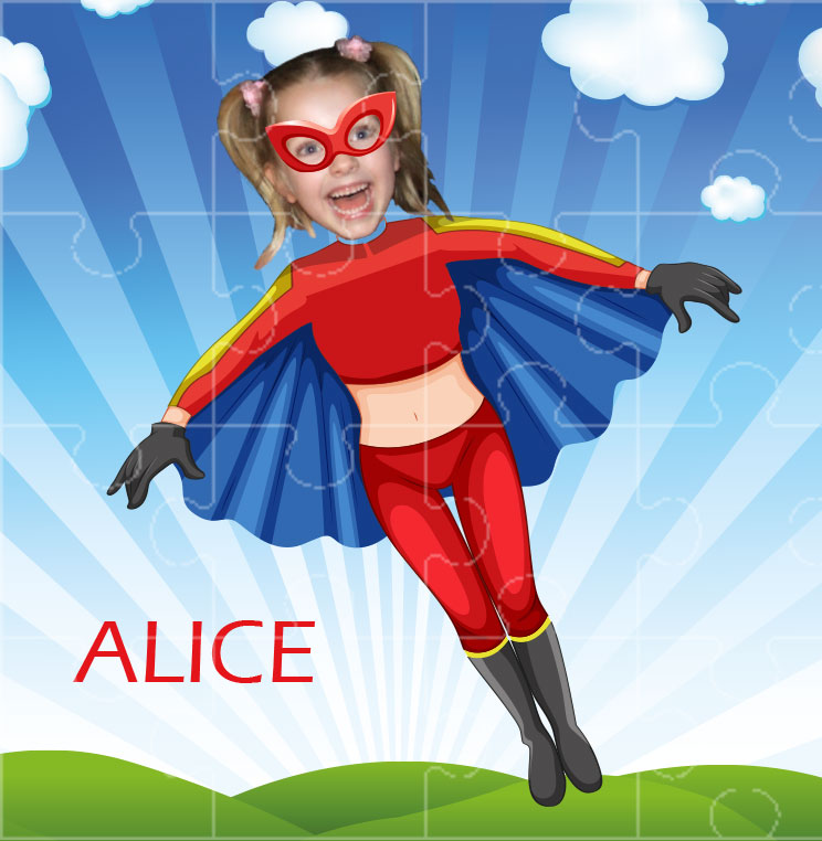 personalised jigsaw superheroes flygirl