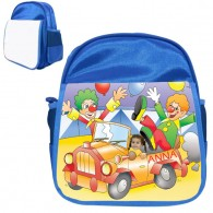 personalised bag clown car blue