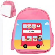personalised bag red bus pink
