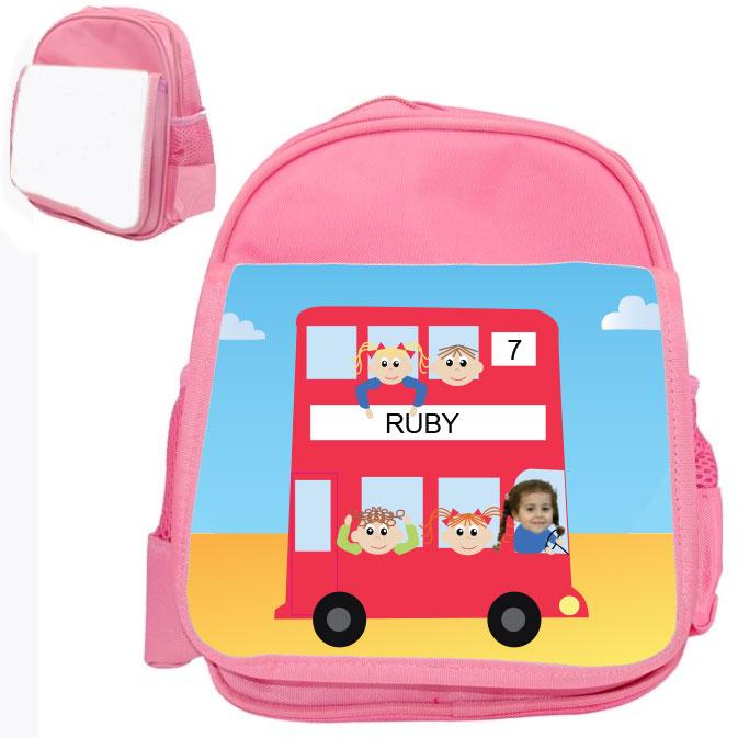 personalised bag red bus pink
