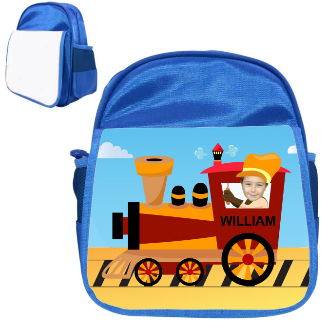 personalised bag train blue