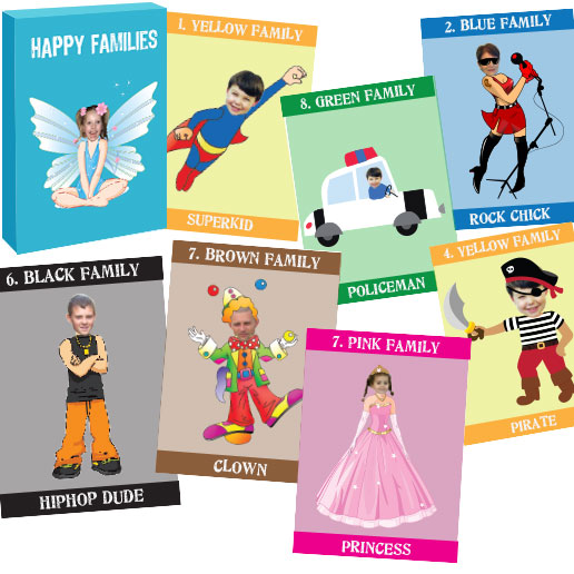 personalised playing photo cards happy family