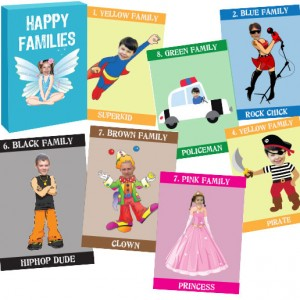 personalised-playing photo cards happy family