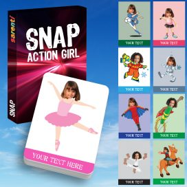 Snap Action Girl playing cards
