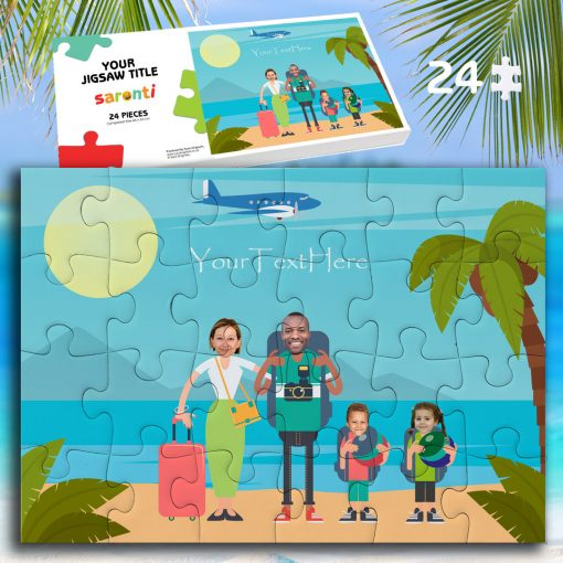 24 piece 2 children family holiday jigsaw puzzle