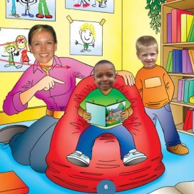 children reading book with teacher