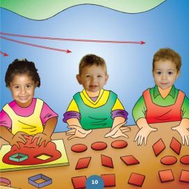 3 children playing with dough shapes