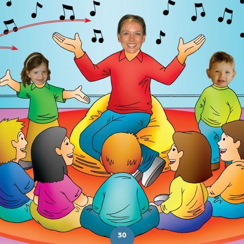 children singing with teacher