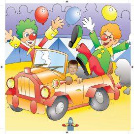boy in clown car