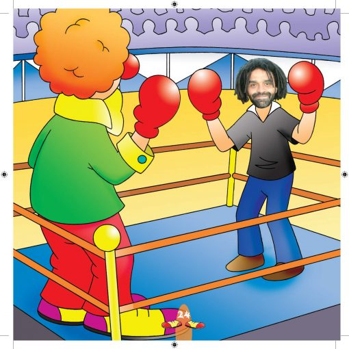 dad in boxing ring with clown