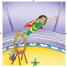 girl flying through the ring of fire