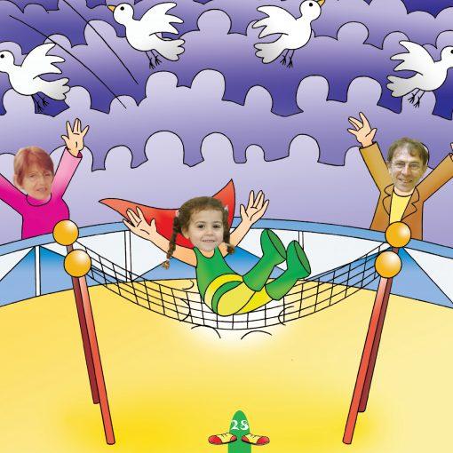 girl landing in net