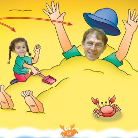 man buried in sand by little girl