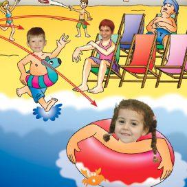 girl in sea in rubber ring