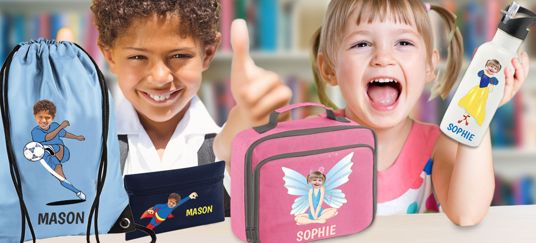 boy and girl with personalised back to school products