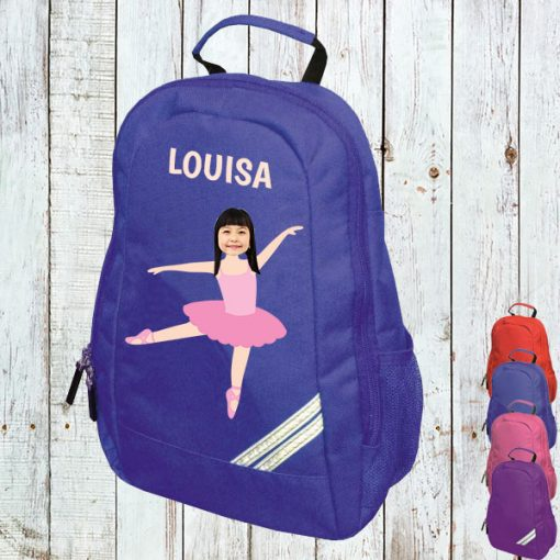 blue backpack with ballerina image