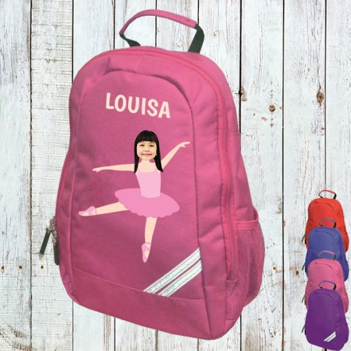 pink backpack with ballerina image