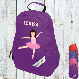 purple backpack with ballerina image
