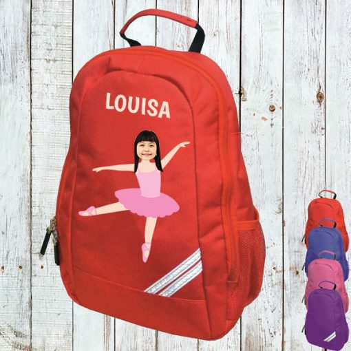 red backpack with ballerina image