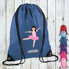 blue drawstring bag with ballerina image