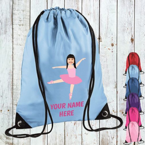 sky blue ballerina drawstring bag