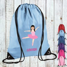 sky blue drawstring bag with ballerina image