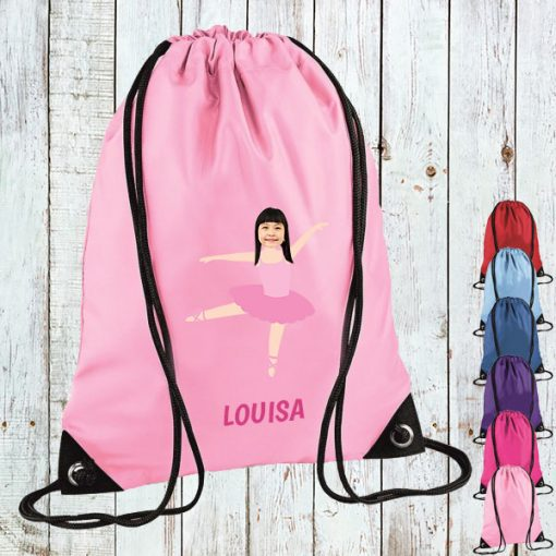 light pink drawstring bag with ballerina image