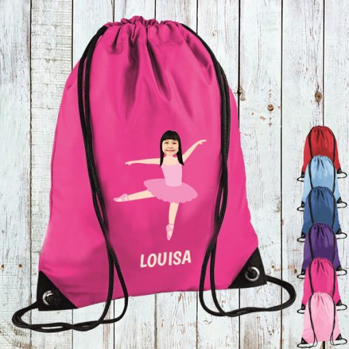 pink drawstring bag with ballerina image