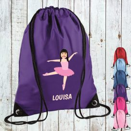 purple drawstring bag with ballerina image