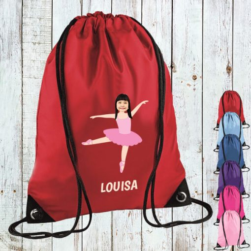 red drawstring bag with ballerina image