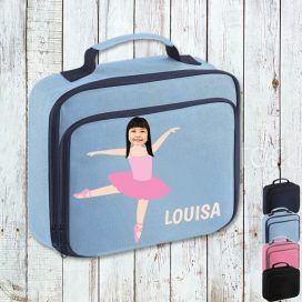 sky blue lunch bag with ballerina image