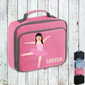 pink lunch bag with ballerina image