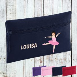 navy pencil case with ballerina image