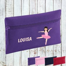 purple pencil case with ballerina image